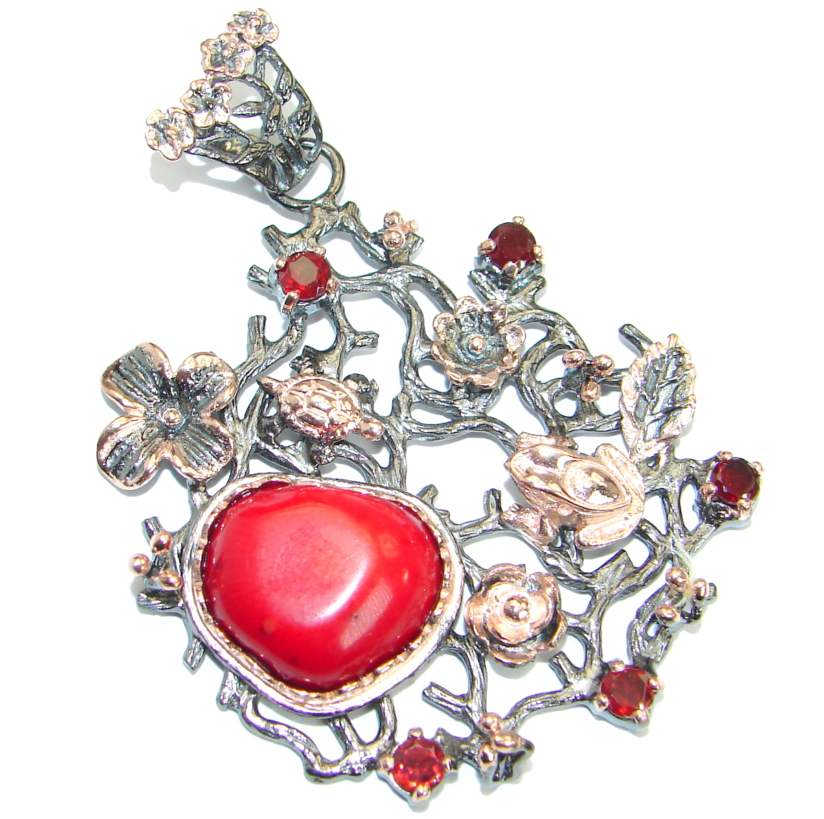 Huge Authentic Red Fossilized Coral .925 Coral Sterling Silver handmade pend..