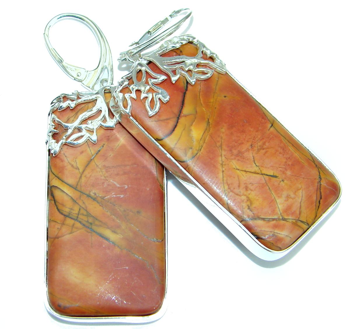 Bohemian Style Red Creek Jasper .925 Sterling Silver handcrafted Earrings