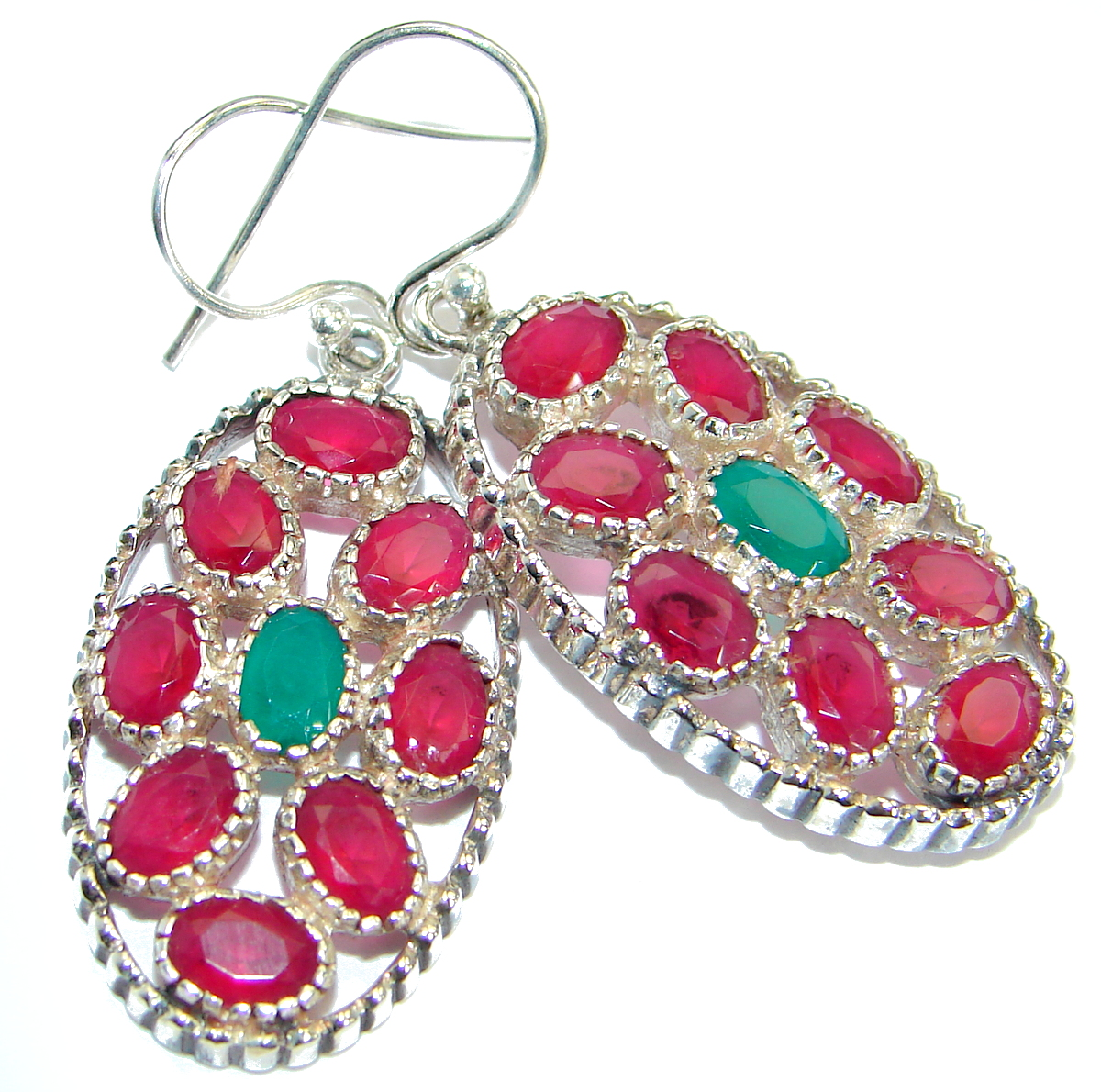 Unique  Ruby Emerald .925  Sterling Silver handmade earrings