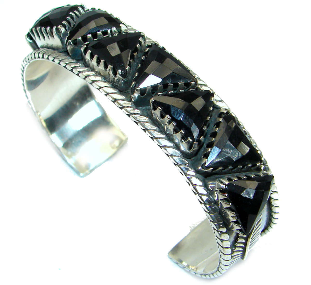 Huge Natural Black Onyx Oxidized Sterling Silver handcrafted Bracelet / Cuff