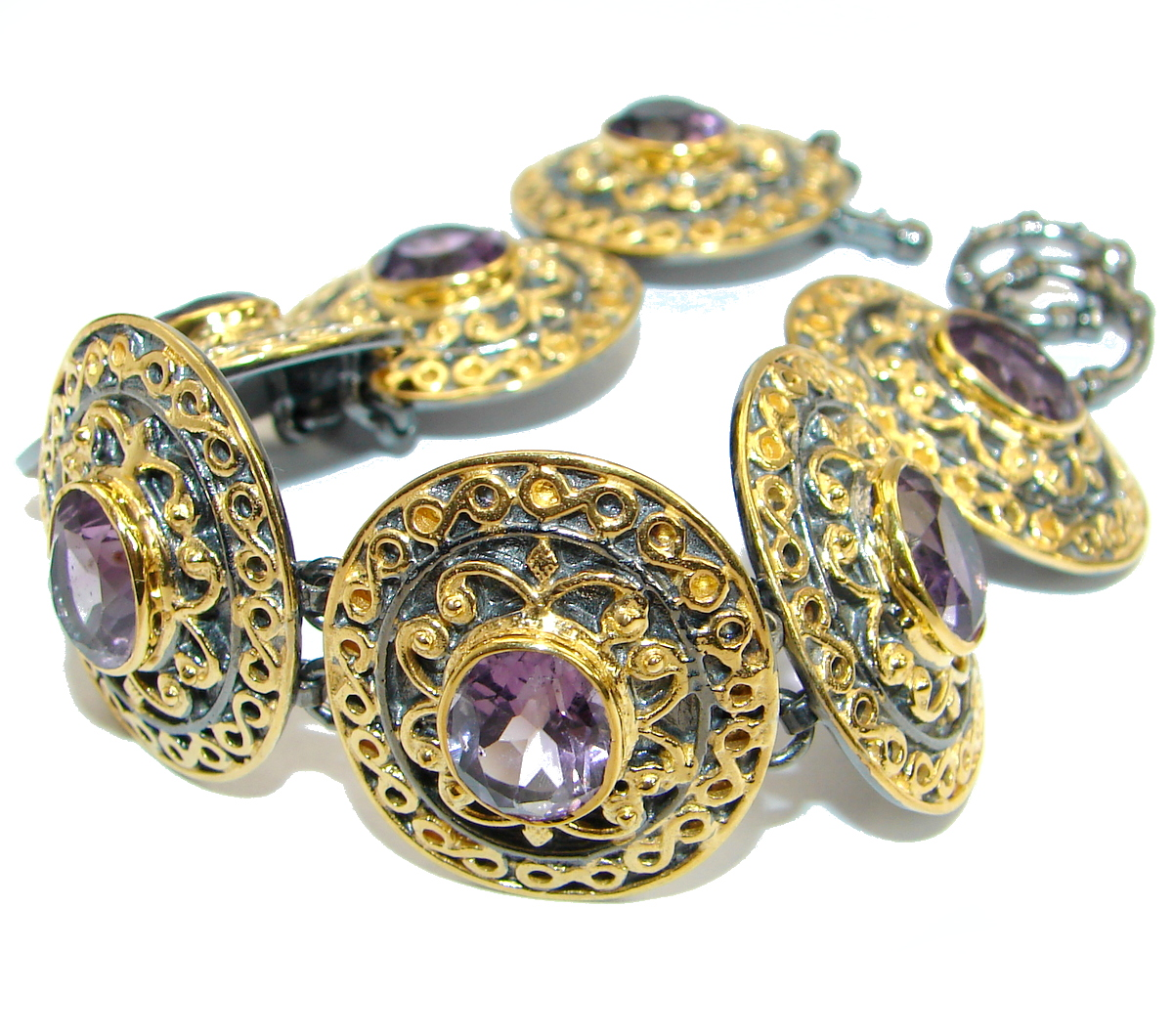 Real Treasure Genuine Amethyst 14K Gold over .925 Sterling Silver Bracelet / Cuff