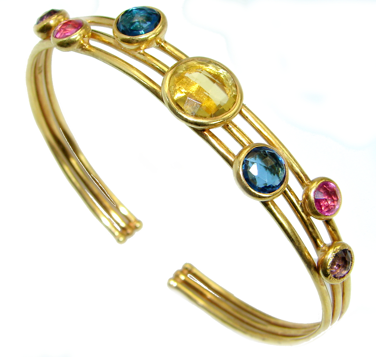 Luxury Paradise simulated Gemstones Gold over .925 Sterling Silver Bracelet