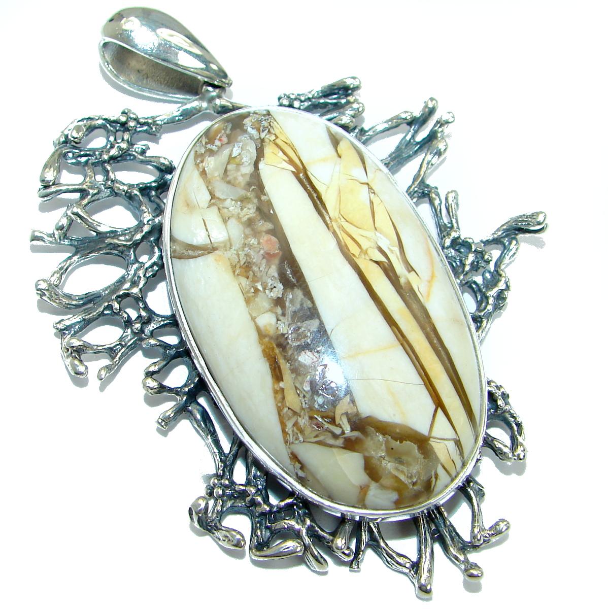 Huge Australian Bracciated Mookaite Jasper .925 Sterling Silver handcrafted pendant