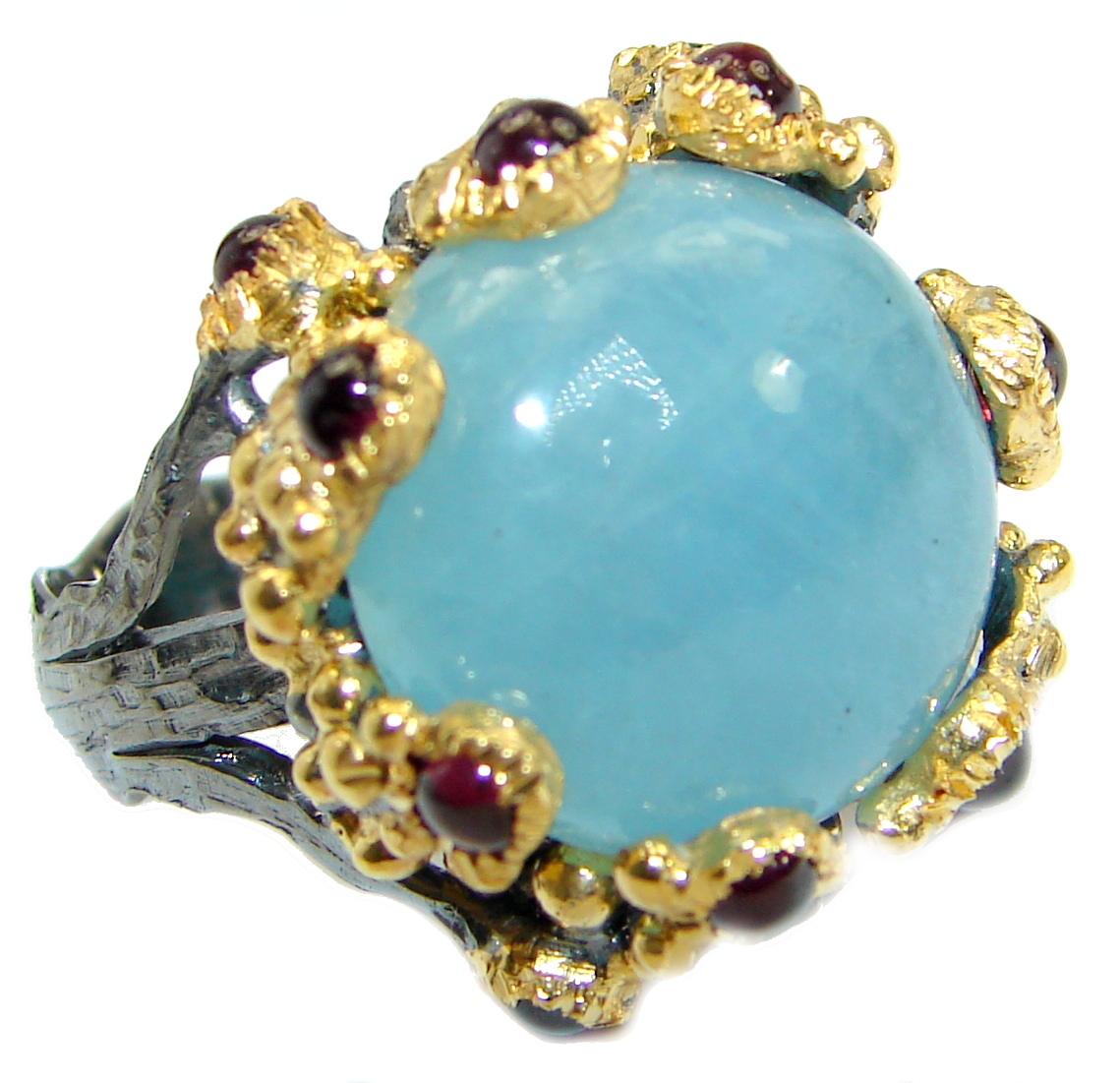 Passiom Fruit Natural 18.5 ct. Aquamarine Gold Plated over Sterling Silver Ring s. 7 127875