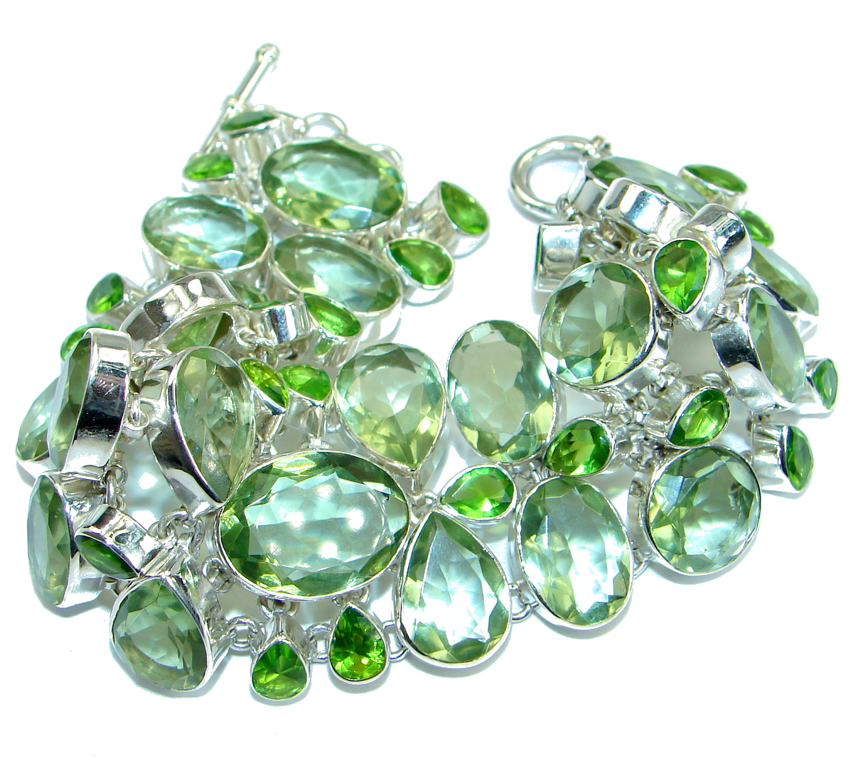 Huge Chic Magic Green Quartz .925 Sterling Silver handmade Bracelet