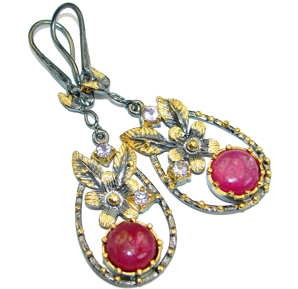 Unique  Ruby 14K  Gold Rhodium over .925  Sterling Silver handmade earrings