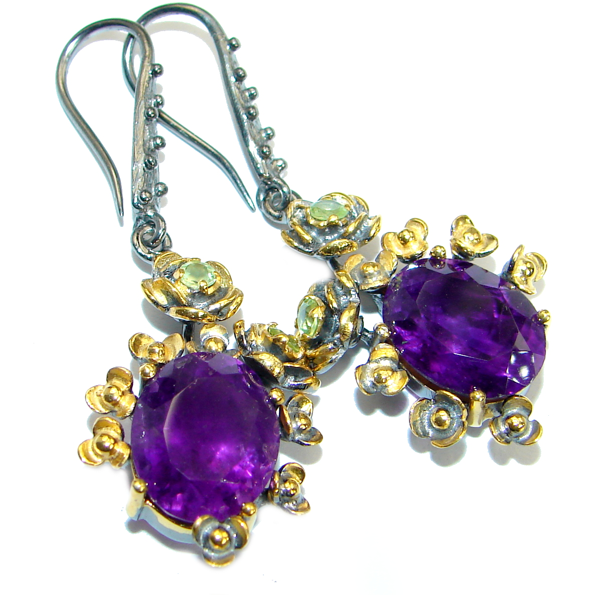 Perfect  genuine Amethyst 14K Gold over   .925