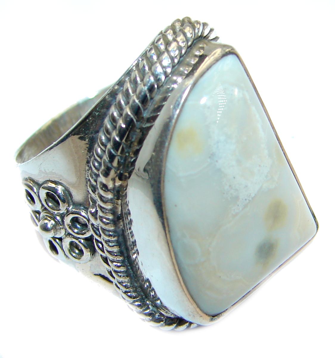 Huge Ocean Jasper  Sterling Silver Ring s. 7