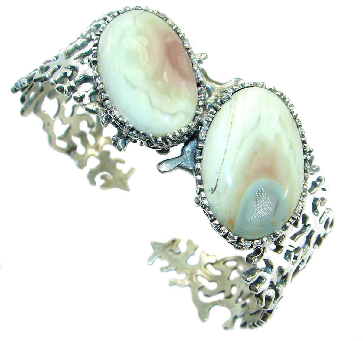 Real Treasure Royal Imperial Jasper .925 Sterling Silver handcrafted Bracelet / Cuff