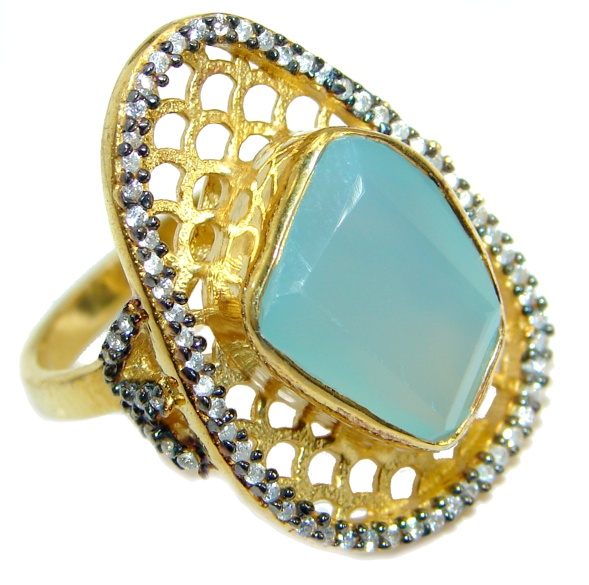 Passiom Fruit Natural 22.5 ct. Aquamarine Gold  over .925 Sterling Silver Ri..