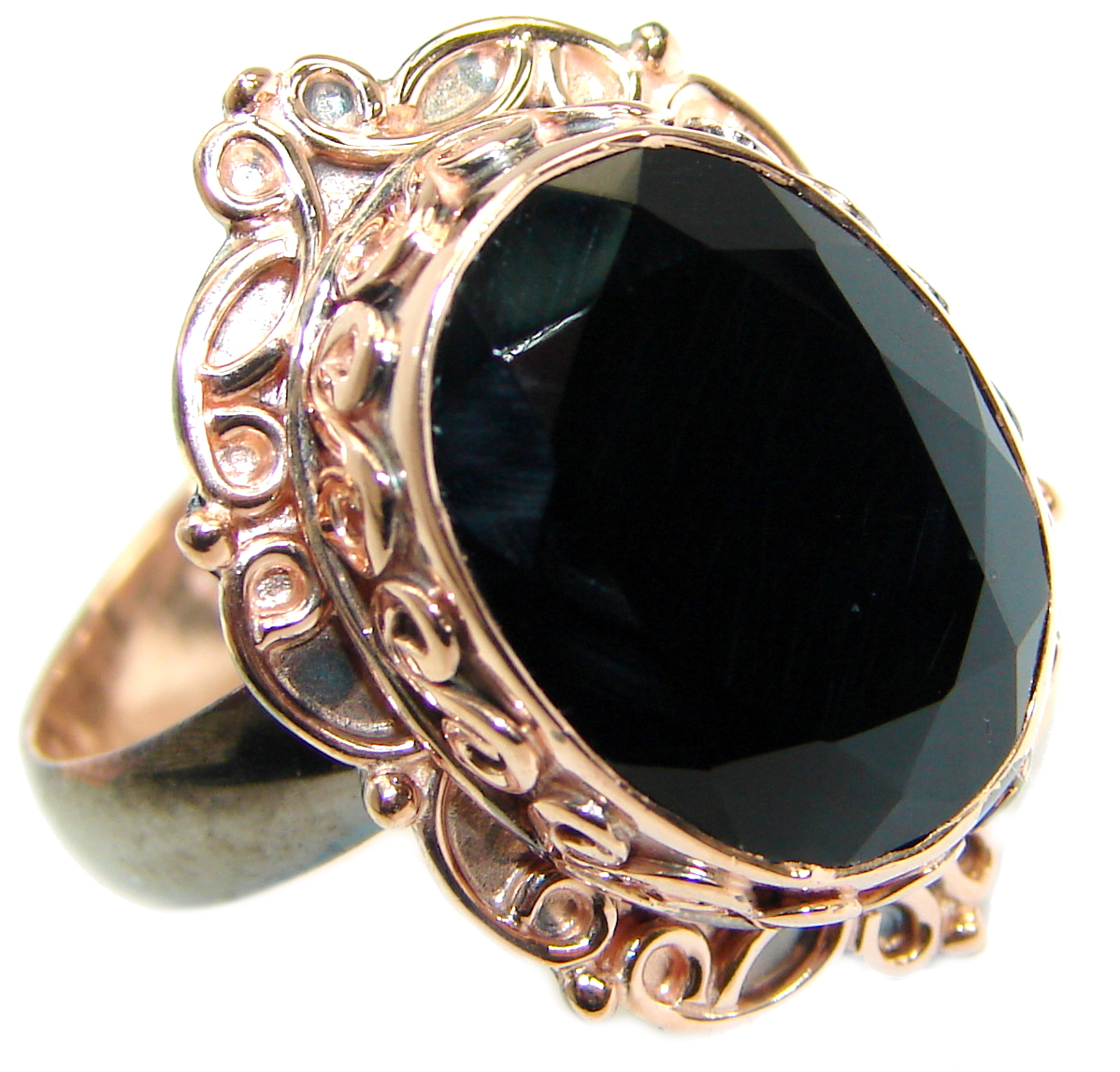 Majestic Authentic Onyx Rose gold over .925  Sterling Silver handmade Ring s. 7 adjustable