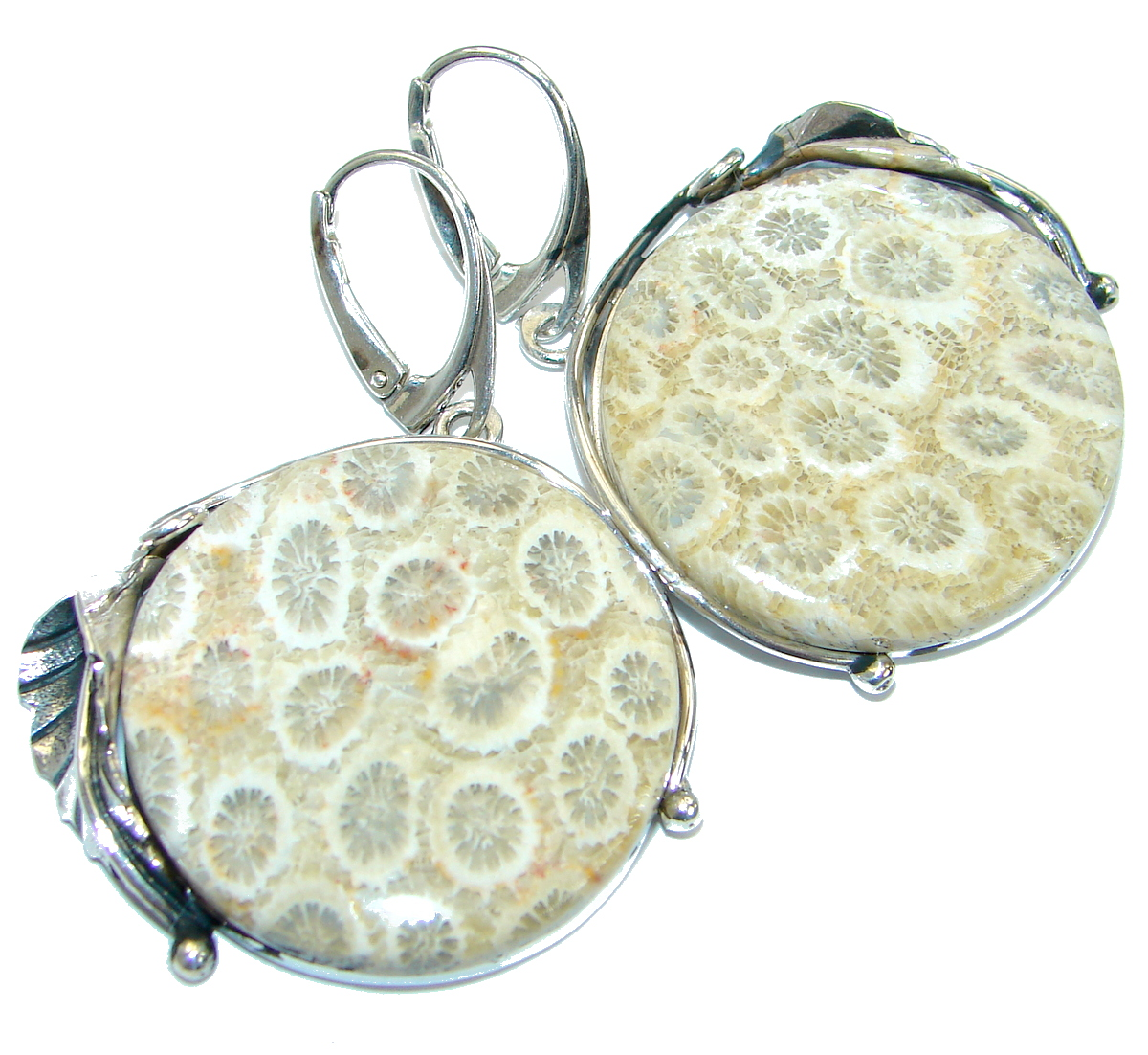 Genuine  Fossilized Coral  .925 Sterling Silver handmade earrings