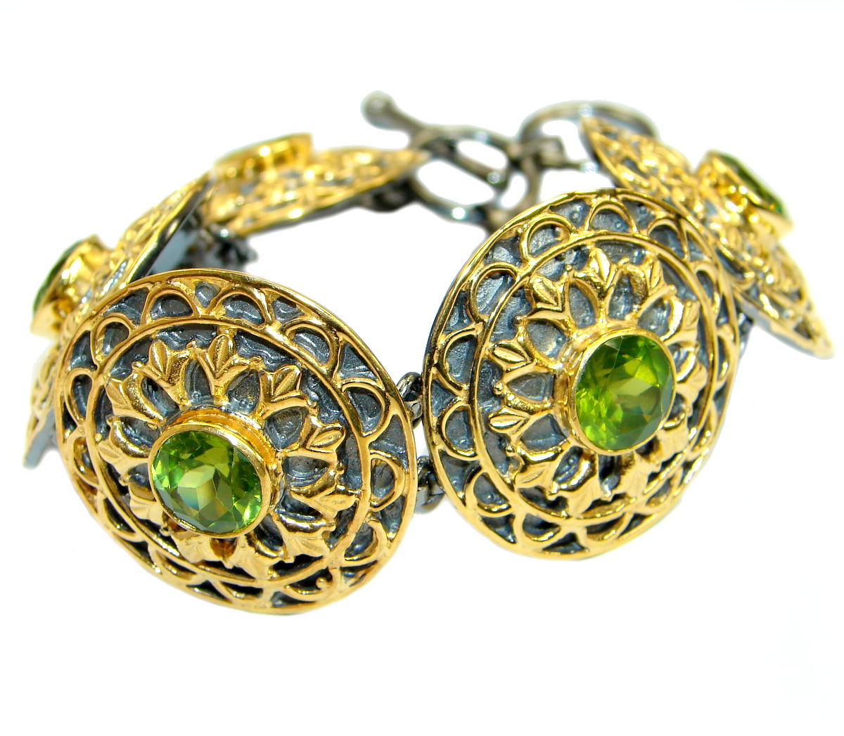 Chunky Flawless Peridot 14K Gold Rhodium over .925 Sterling Silver handcrafted Bracelet