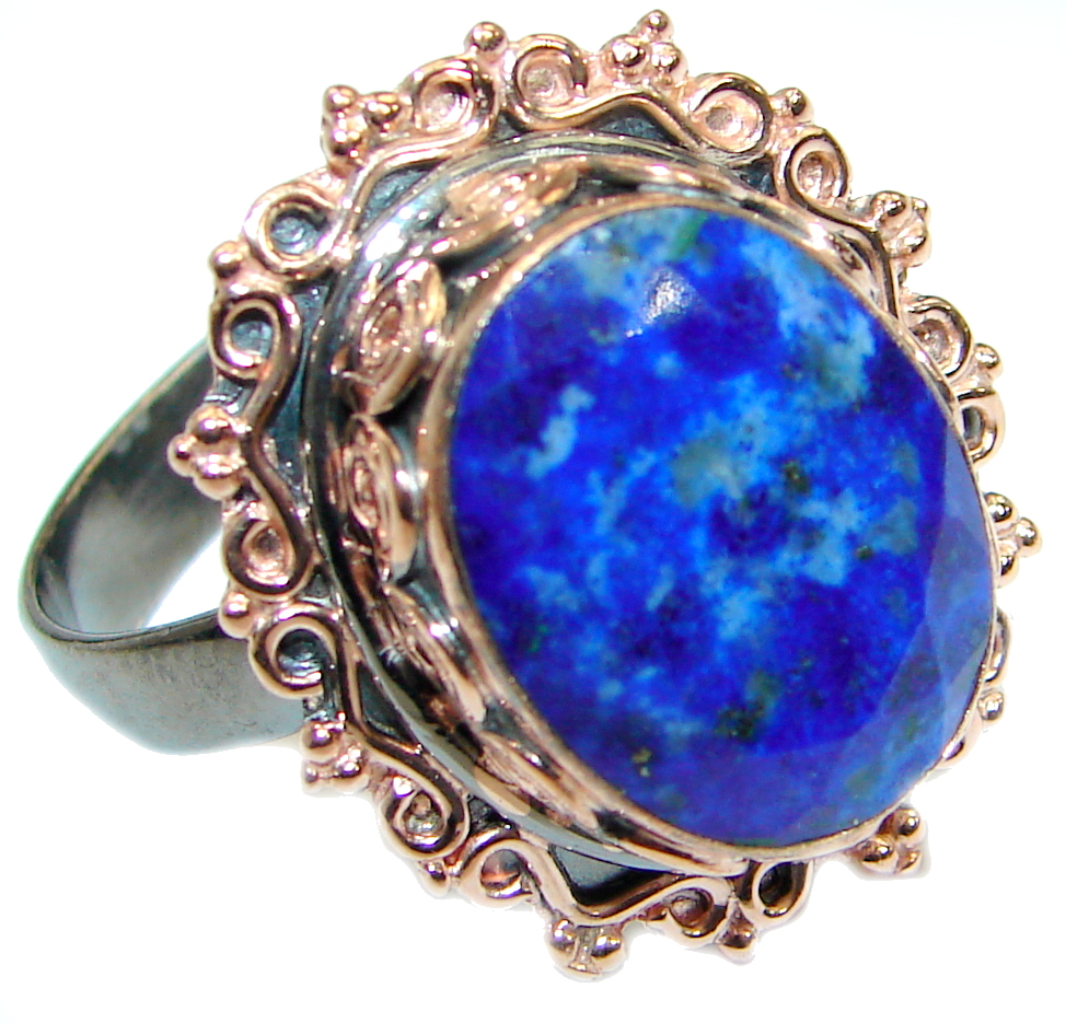 Genuine Lapis Lazuli Rose Gold Rhodium over .925 Sterling Silver handmade Ring size 7 adjustable