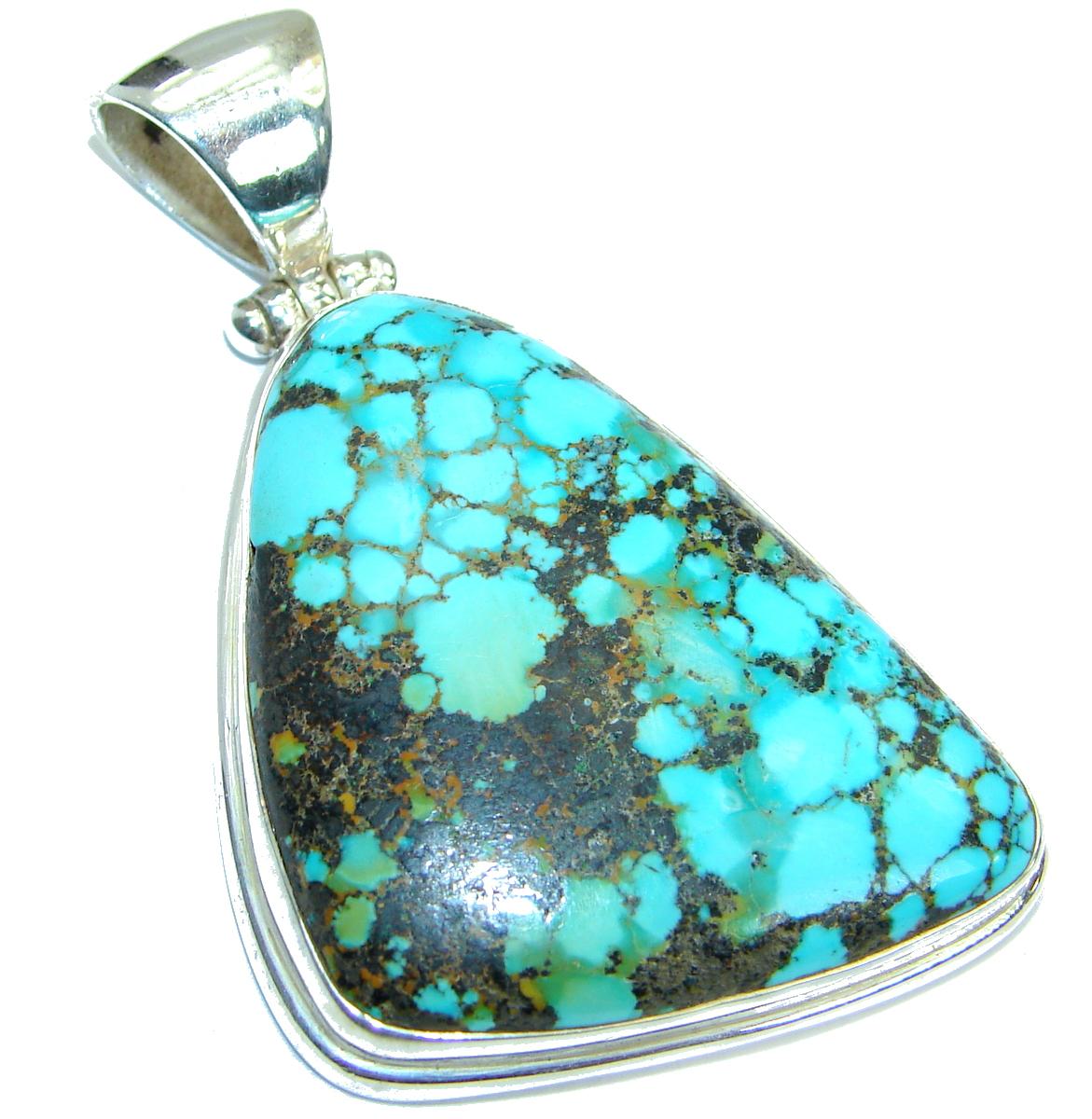 Genuine Turquoise .925 Sterling Silver handmade Pendant