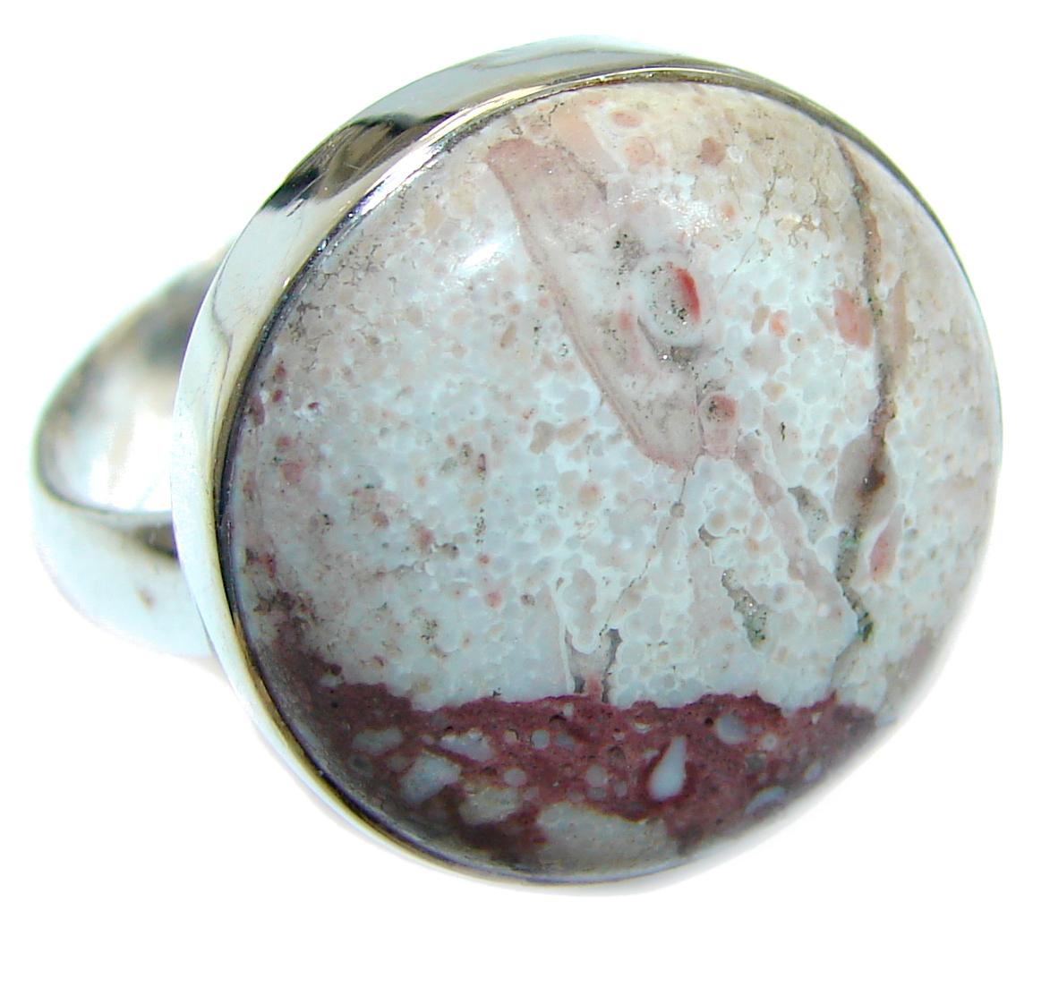 Huge Ocean Jasper  Sterling Silver Ring s. 8 3/4
