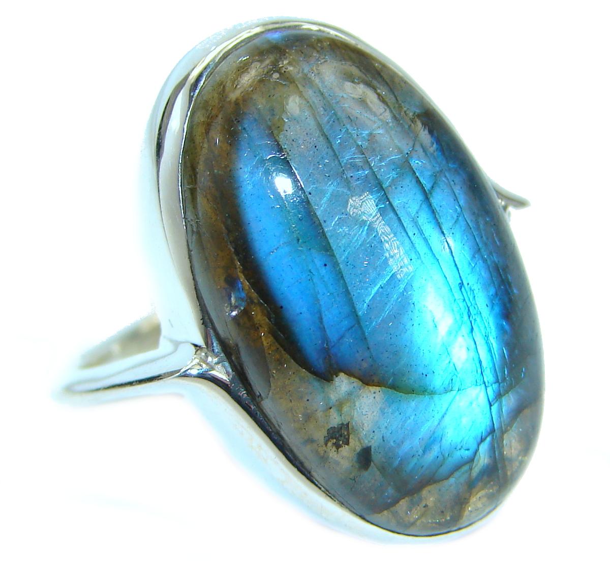 Silky Labradorite .925 Sterling Silver handmade Ring s. 9