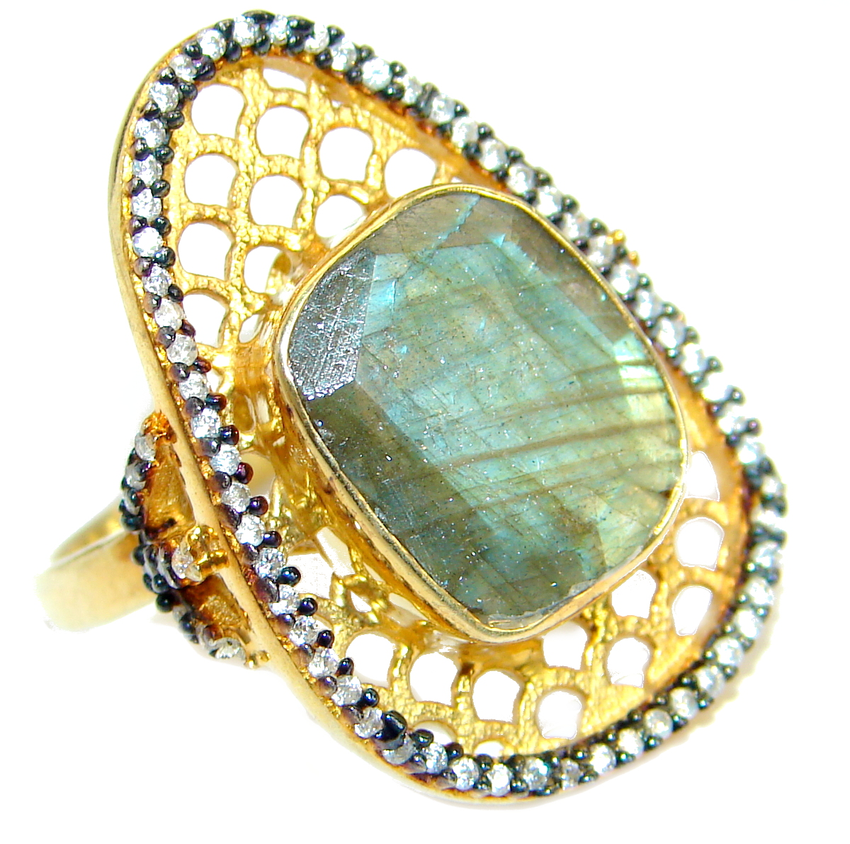Passiom Fruit Natural 22.5 ct. Labradorite Gold over .925 Sterling Silver Ring s. 7
