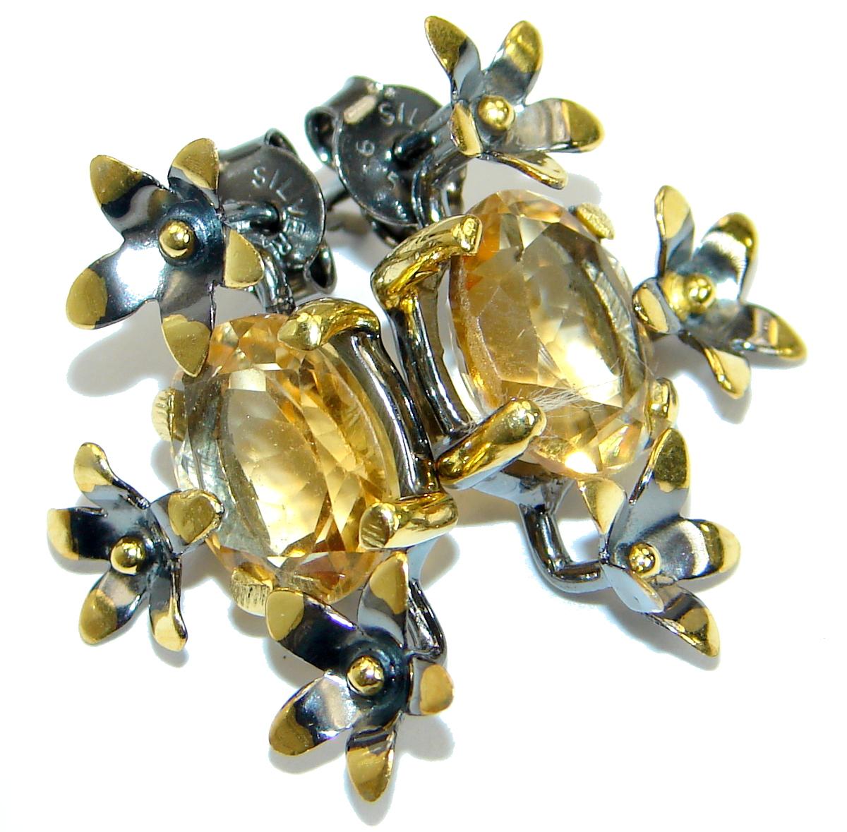 Authentic  Citrine 14K gold over .925 Sterling Silver handmade earrings