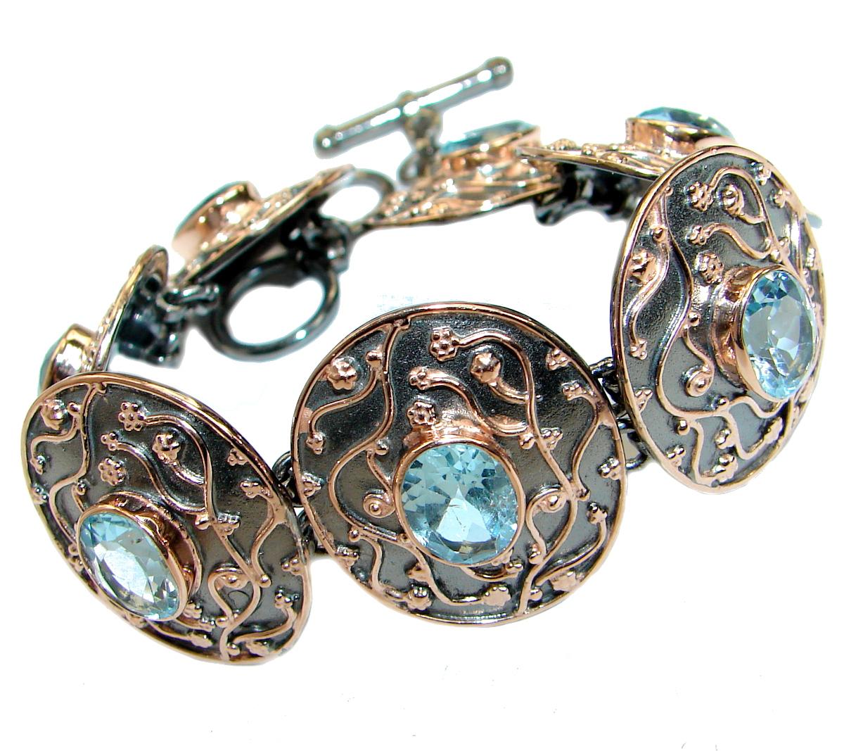 Baroque Style Swiss Blue Topaz Two Tones .925 Sterling Silver handmade Bracelet Cuff
