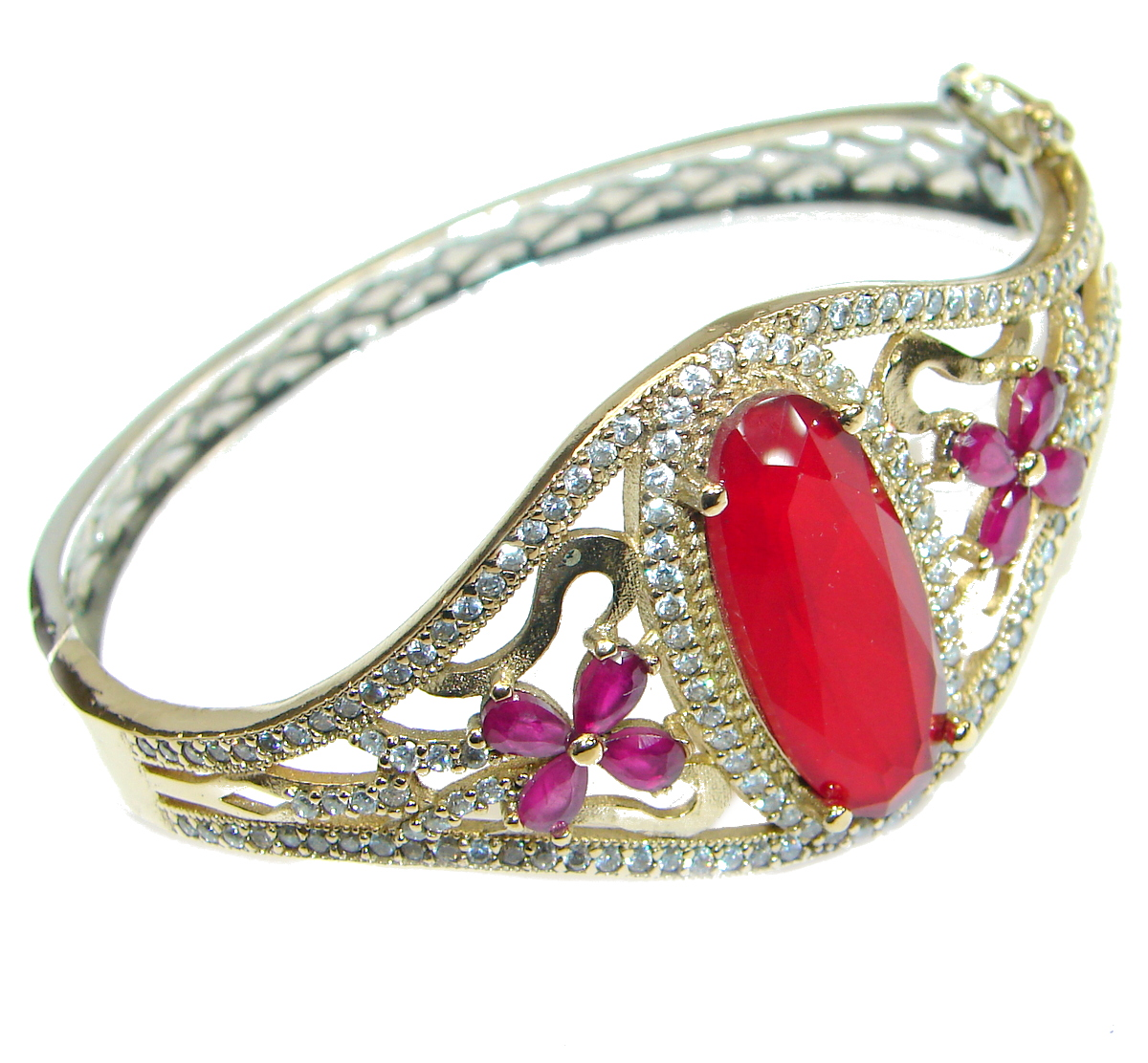 Victorian Style created Ruby & White Topaz Sterling Silver Bracelet / Cuff