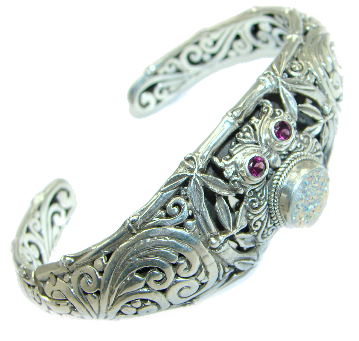 Owl Bali Made  Pink Druzy .925 Sterling Silver handcrafted Bracelet / Cuff