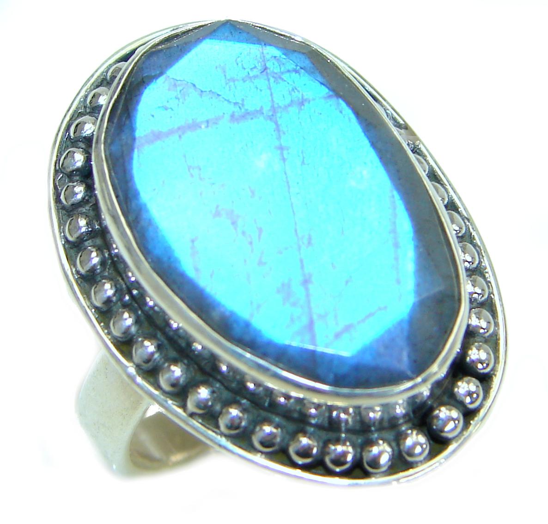Silky Labradorite .925 Sterling Silver handmade Ring s. 7 3/4