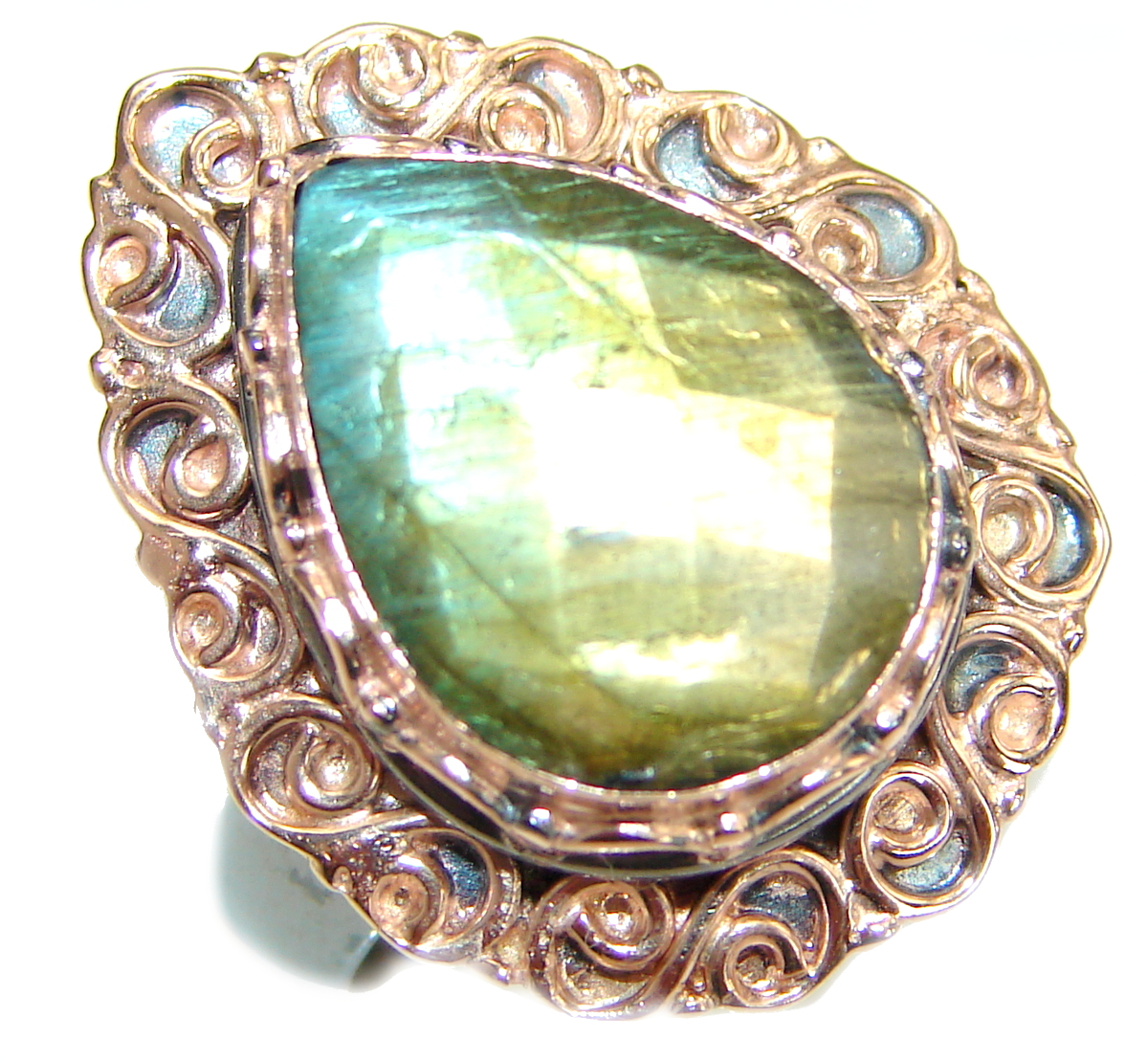 Blue Fire Labradorite Two Tones .925 Sterling Silver handmade ring size 8 adjustable