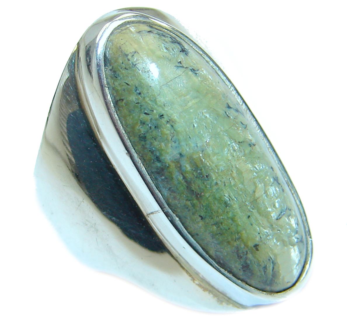Huge Green Jade  Sterling Silver ring s. 7 1/4