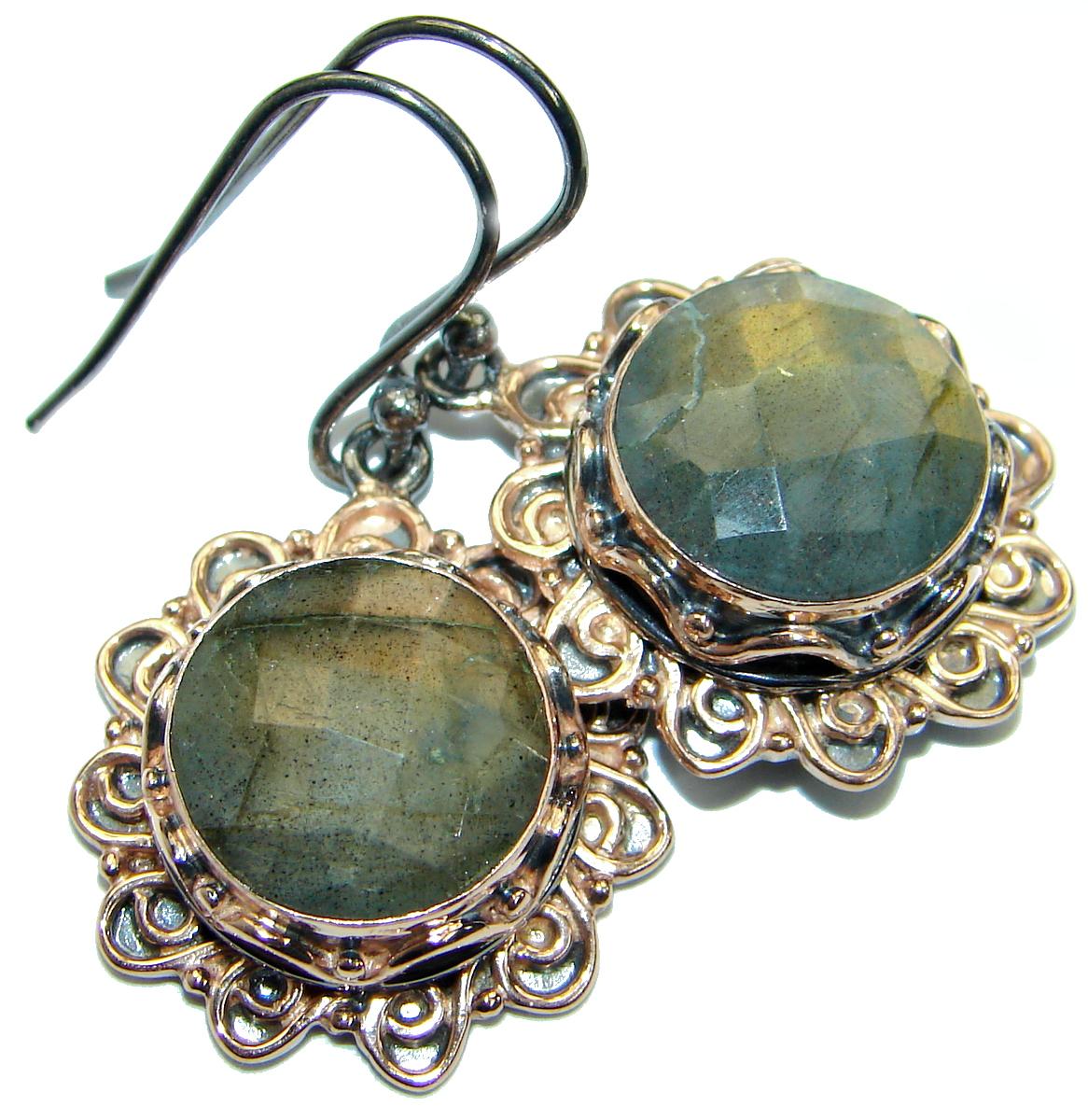 Genuine Silky Labradorite .925 Sterling Silver handmade earrings