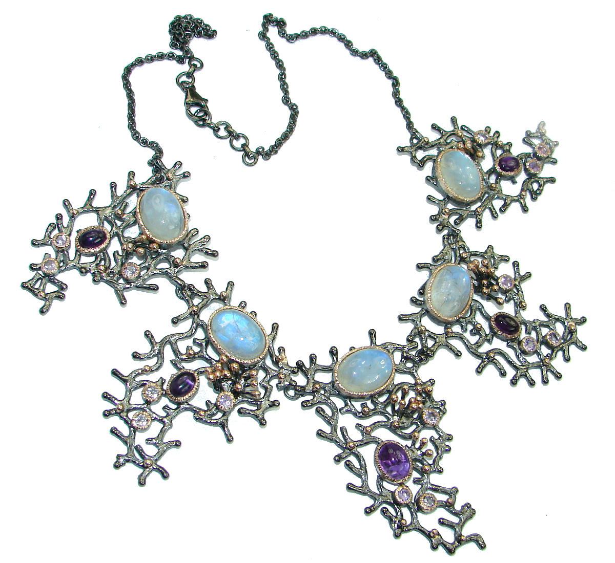 Golden Reef Amethyst Fire Moonstone Gold Rhodium over .925 Sterling Silver handcrafted necklace