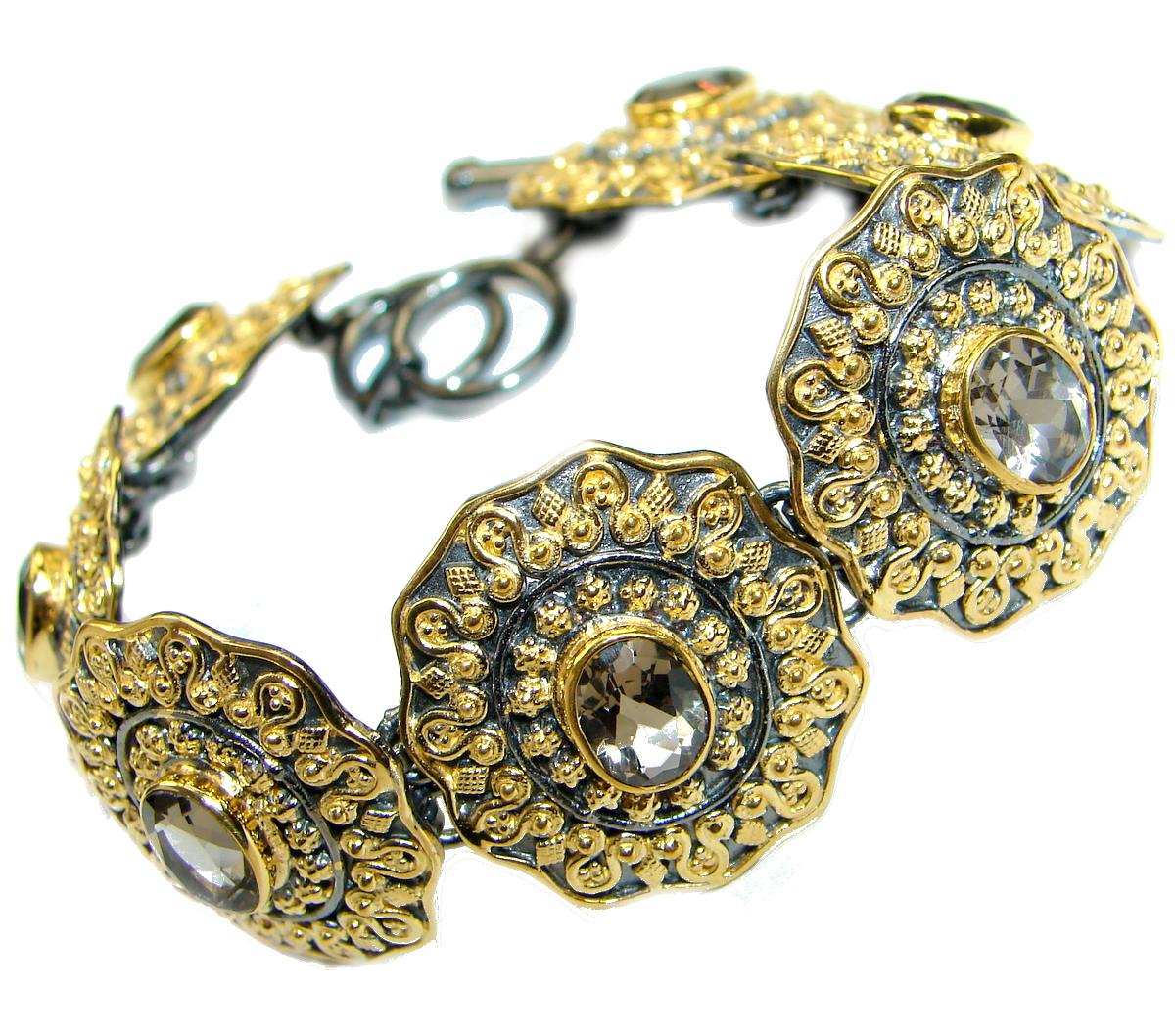 Cleopatra Smoky Topaz 14K Gold Rhodium over .925 Sterling Silver Bracelet