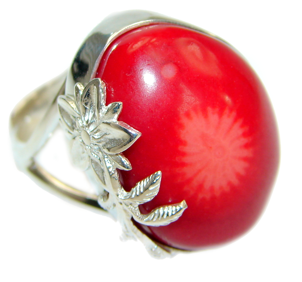 Natural  Fossilized Coral two tones .925 Sterling Silver handmade ring s. 8 ..