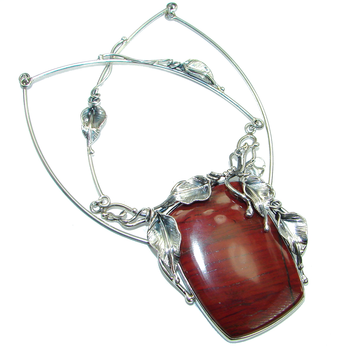 Back to Nature Beautiful Red Jasper .925 Sterling Silver handcrafted Necklace