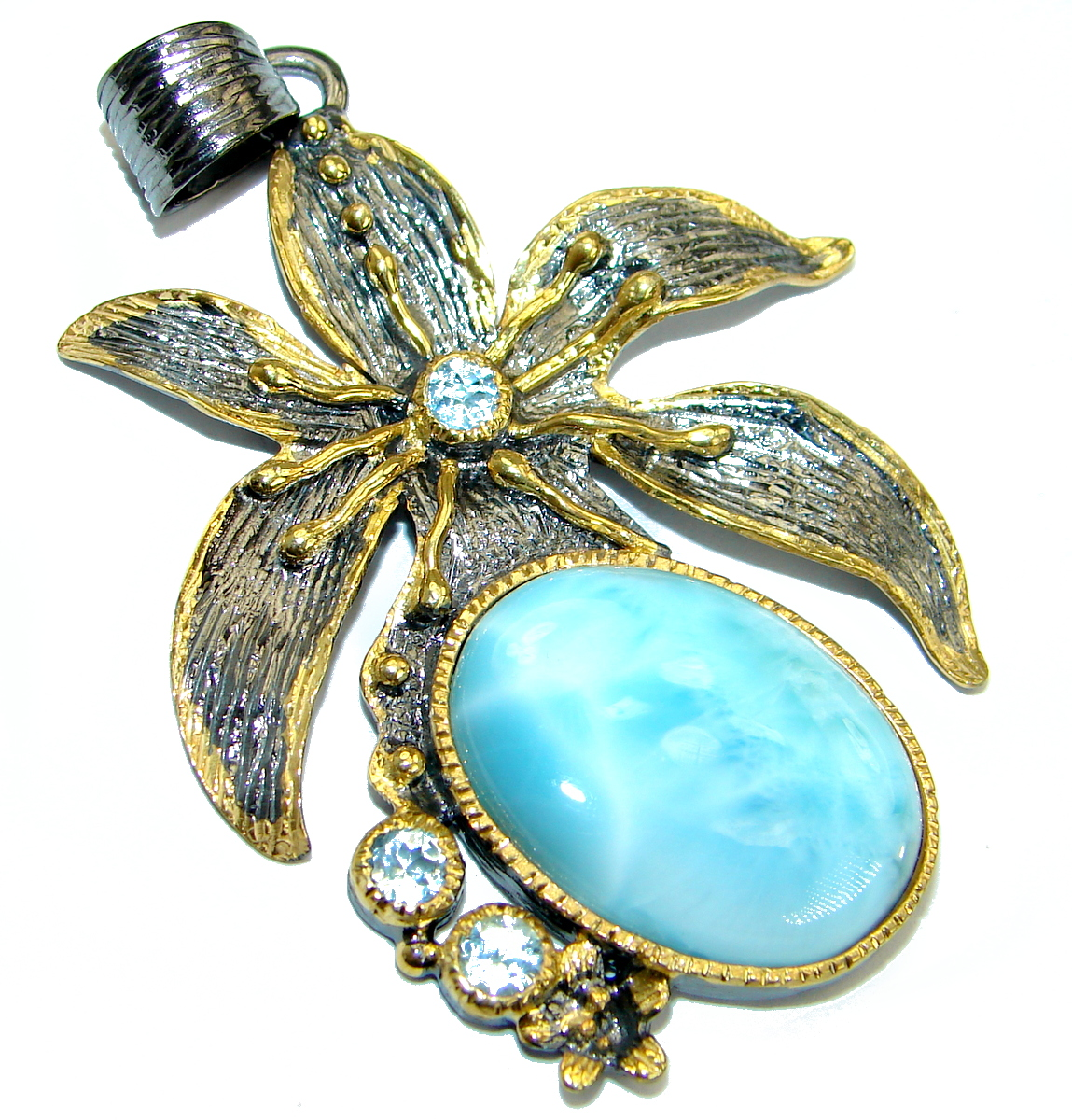 Vintage Design Larimar  14K Gold Rhodium over .925 Sterling Silver handmade ..