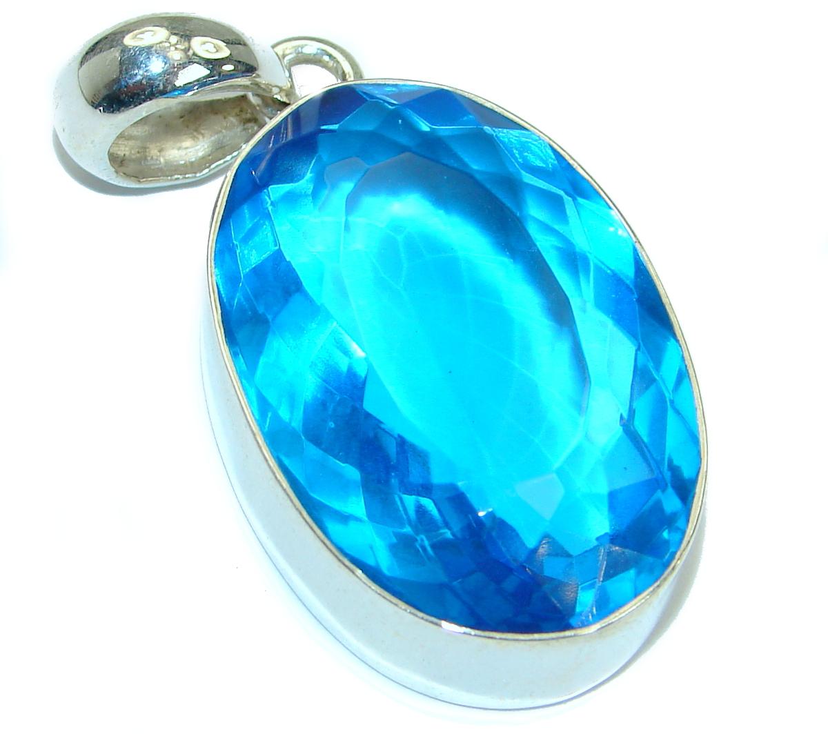 Large Vintage Style Sapphire color Quartz Sterling Silver Pendant
