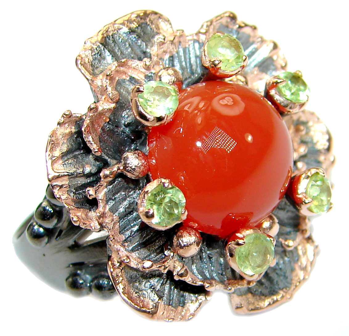 Genuine  Carnelian Peridot Rose Gold over  .925 Sterling Silver handmade Rin..