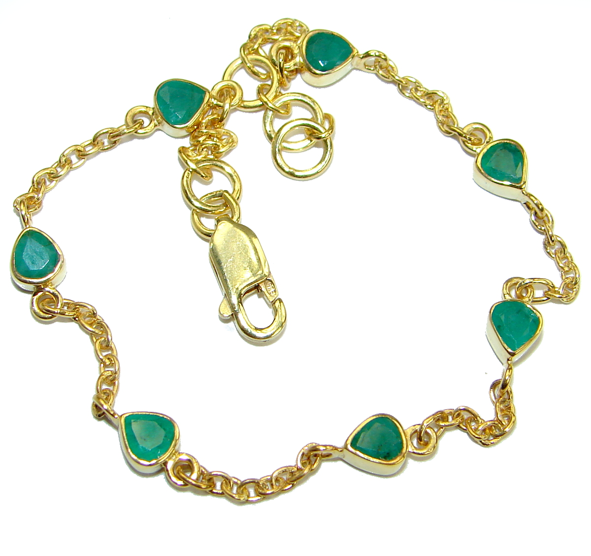 Genuine Emerald Ruby 18 ct Gold plated over .925 Sterling Silver handmade Bracelet