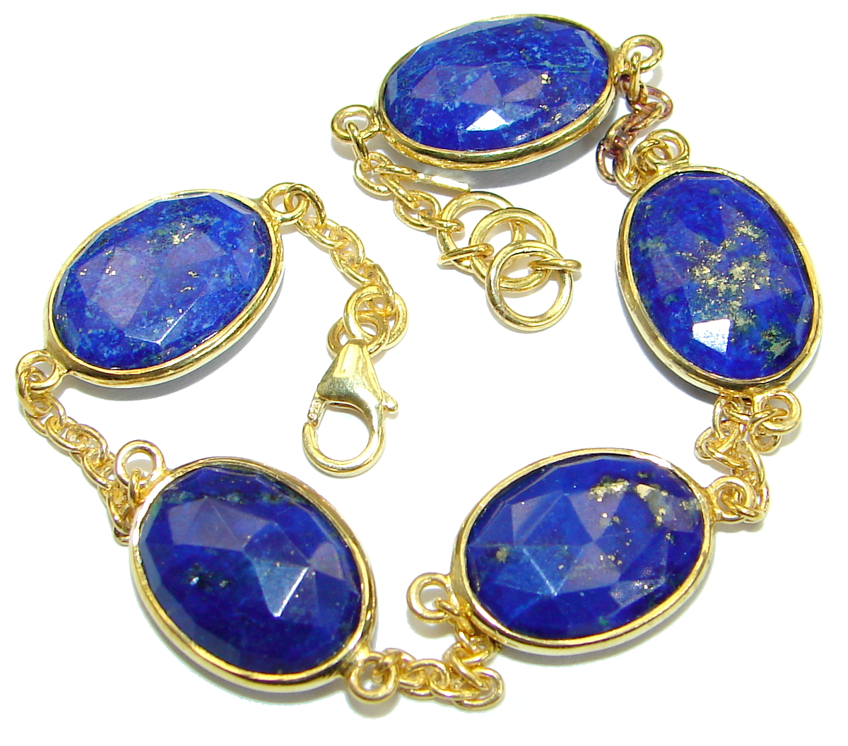 Flawless Passion Lapis Lazuli Gold plated over .925 Sterling Silver Bracelet