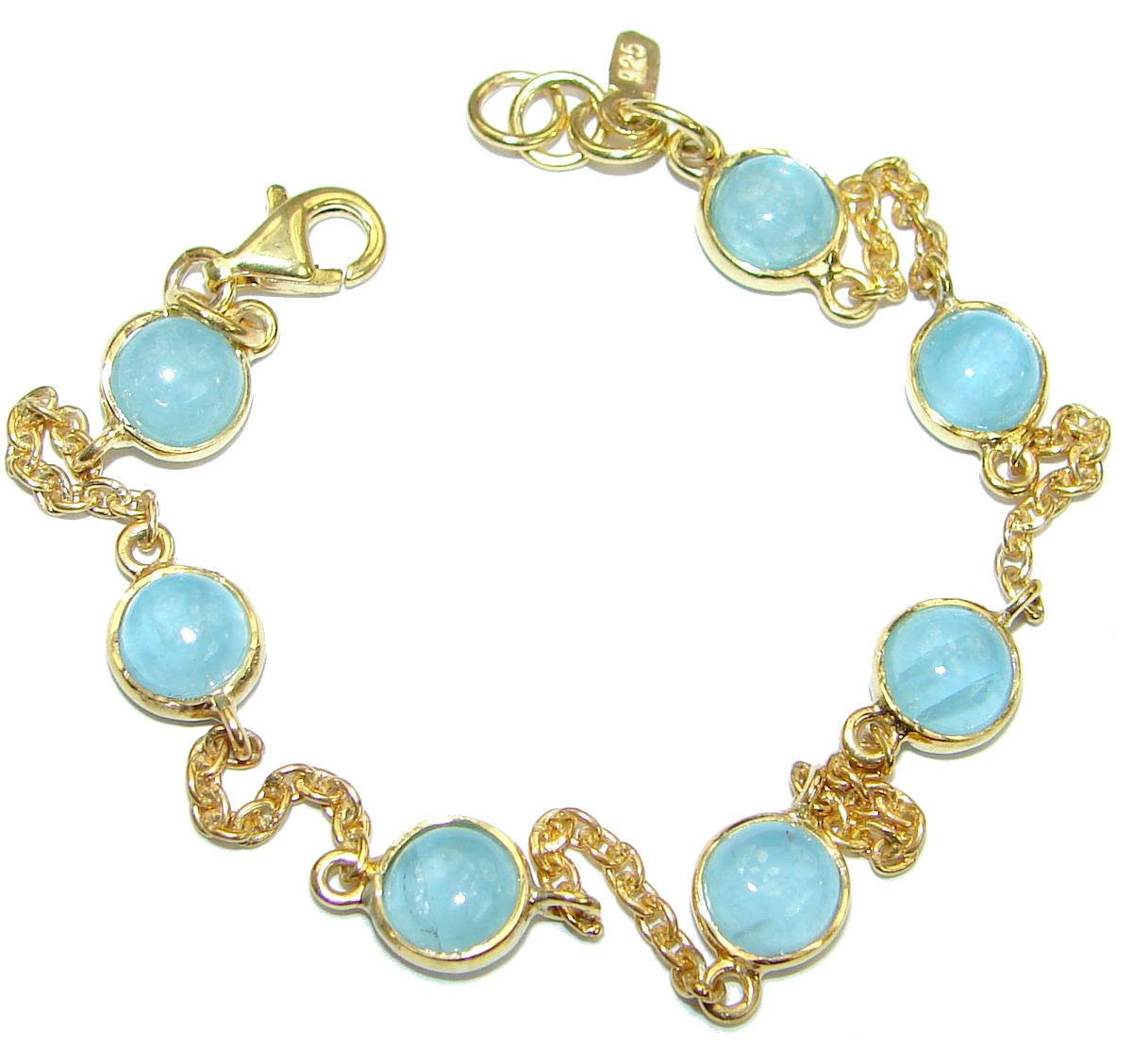 Natural  Aquamarine 14K Gold over .925 Sterling Silver handmade Bracelet