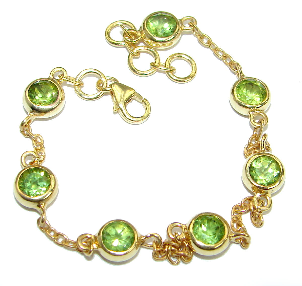 Genuine Green Peridot 14K Gold plated over .925 Sterling Silver handcrafted Bracelet