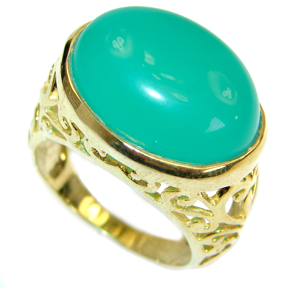Incredible Green Jade  14 K Gold over .925  Sterling Silver handmade ring s...