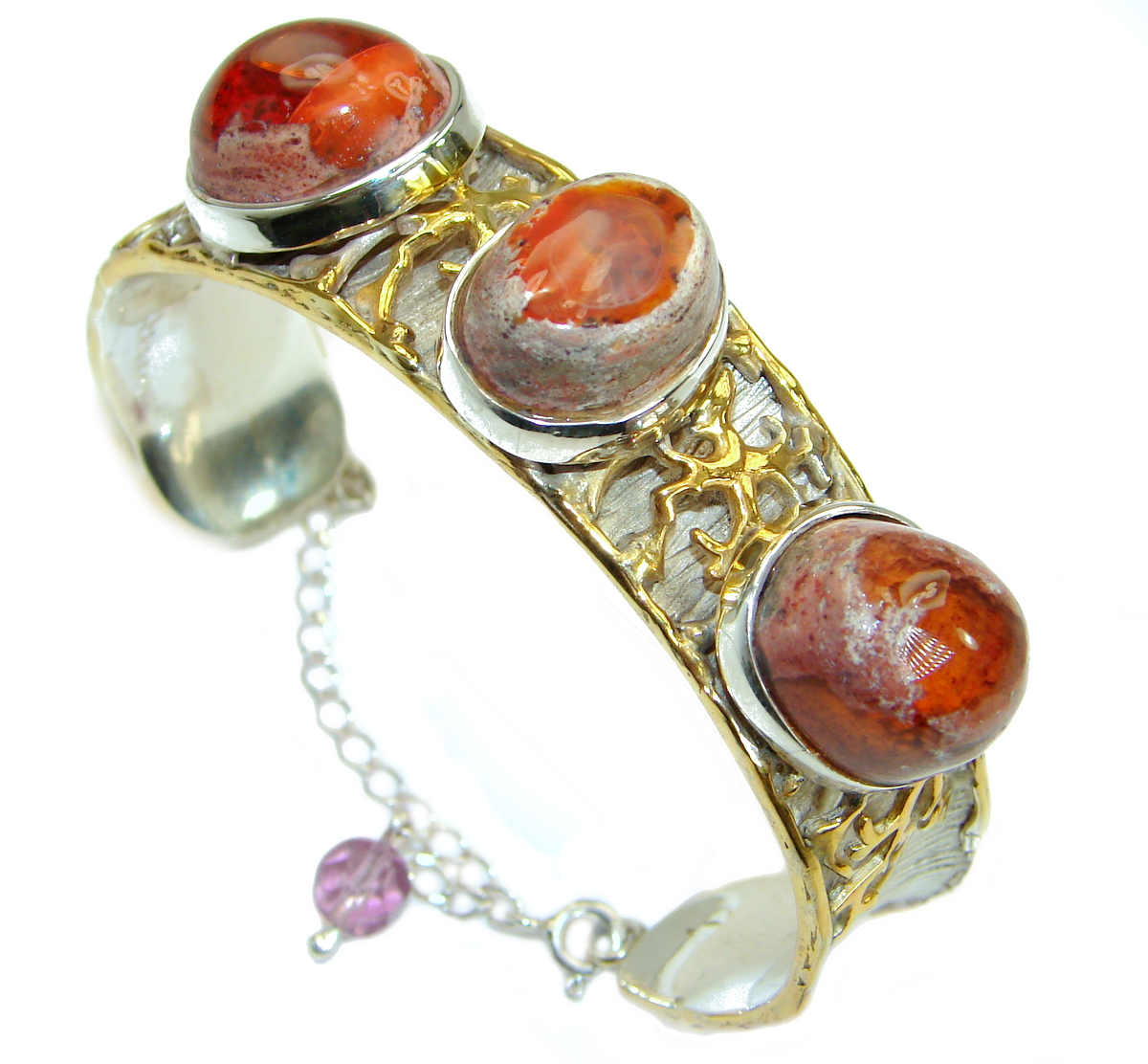 Bohemian Style  Mexican Fire Opal 18k Gold Rhodium over .925 Sterling Silver..