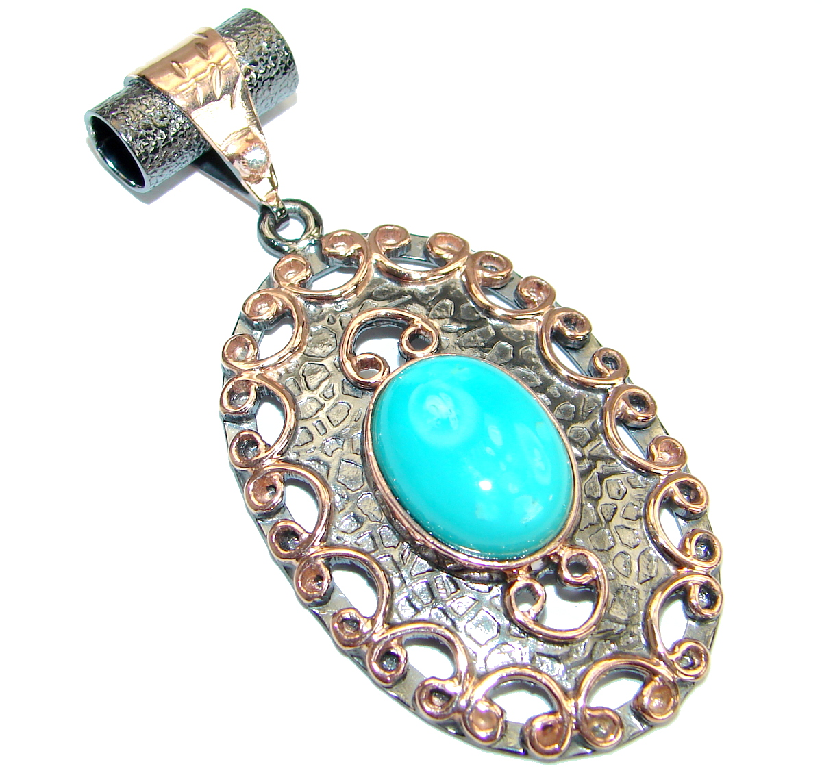 Exquisite Sleeping Beauty  Turquoise Rose Gold Rhodium over .925 Sterling Si..