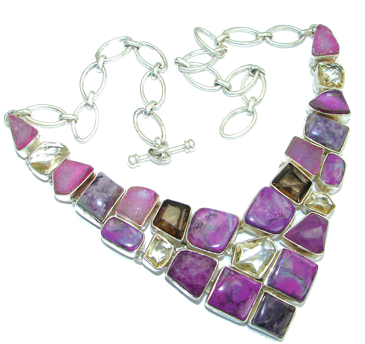 Chic Boho Style genuine Purple Turquoise .925 Sterling Silver handmade necklace