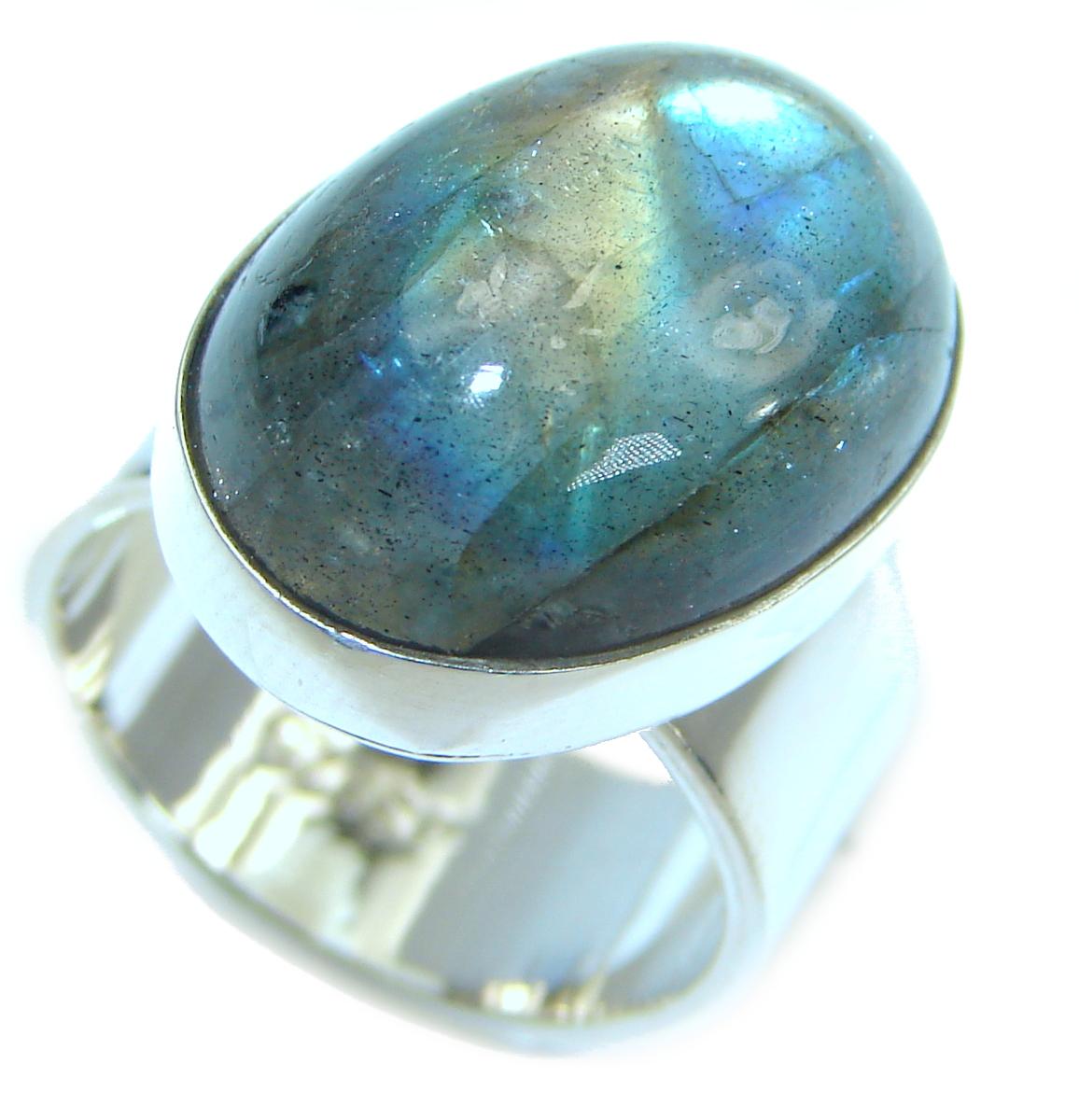 Silky Labradorite .925 Sterling Silver handmade Ring s. 6