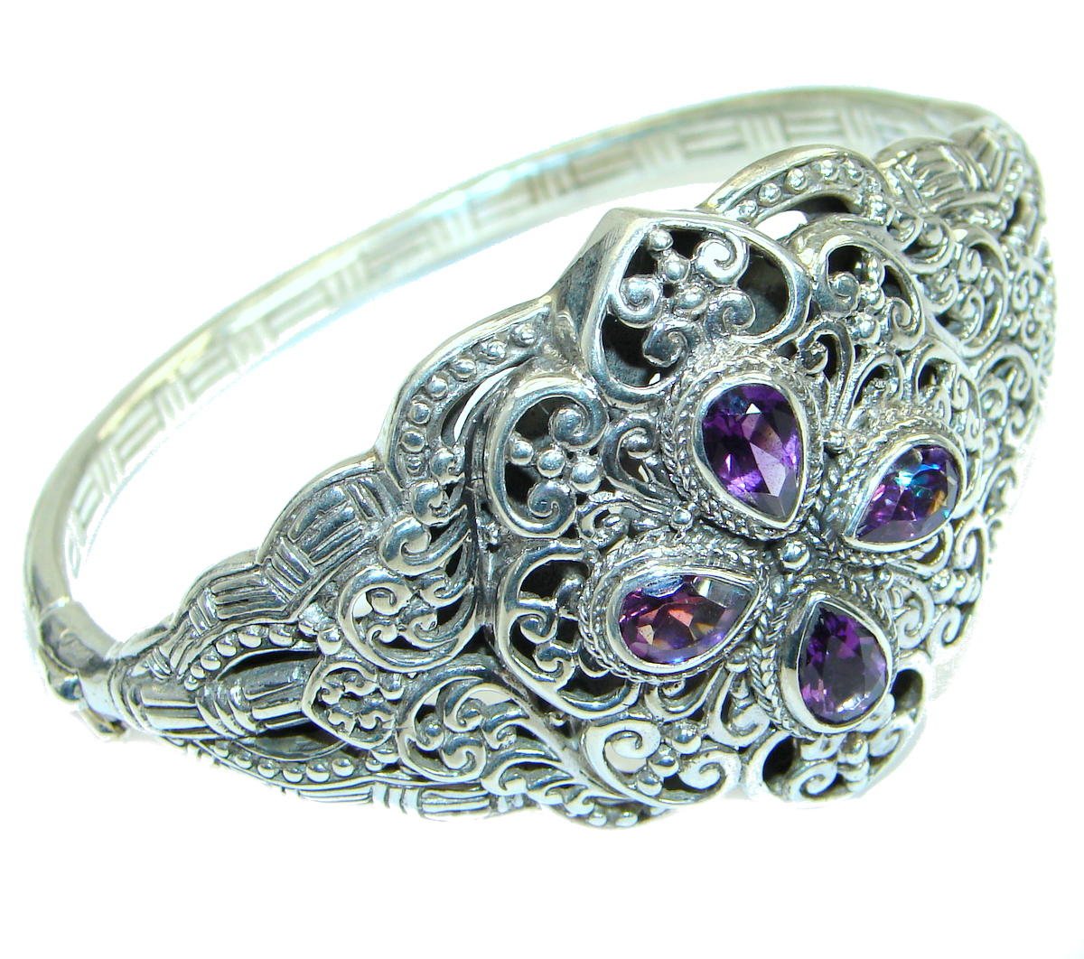 Bali Made  genuine Amethyst  .925 Sterling Silver handcrafted Bracelet / Cuff