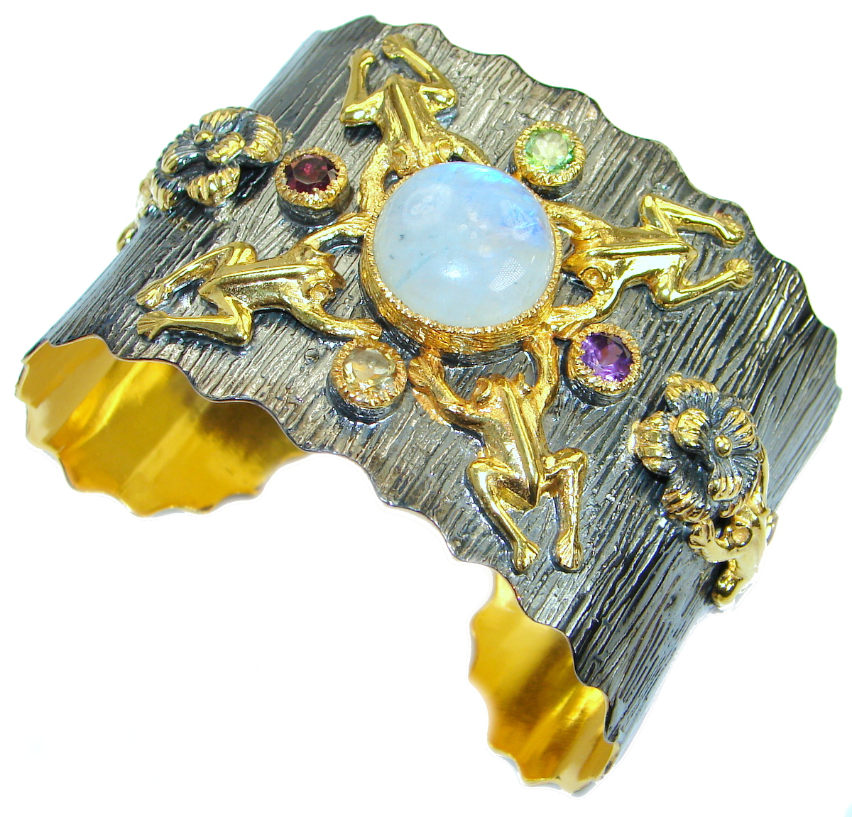 Real Treasure Moonstone 14K Gold Rhodium over Sterling Silver handcrafted Bracelet / Cuff