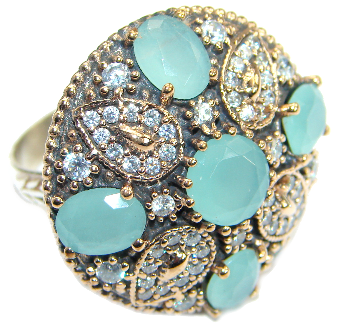 Large Victorian Style created Aquamarine & White Topaz Sterling Silver r..