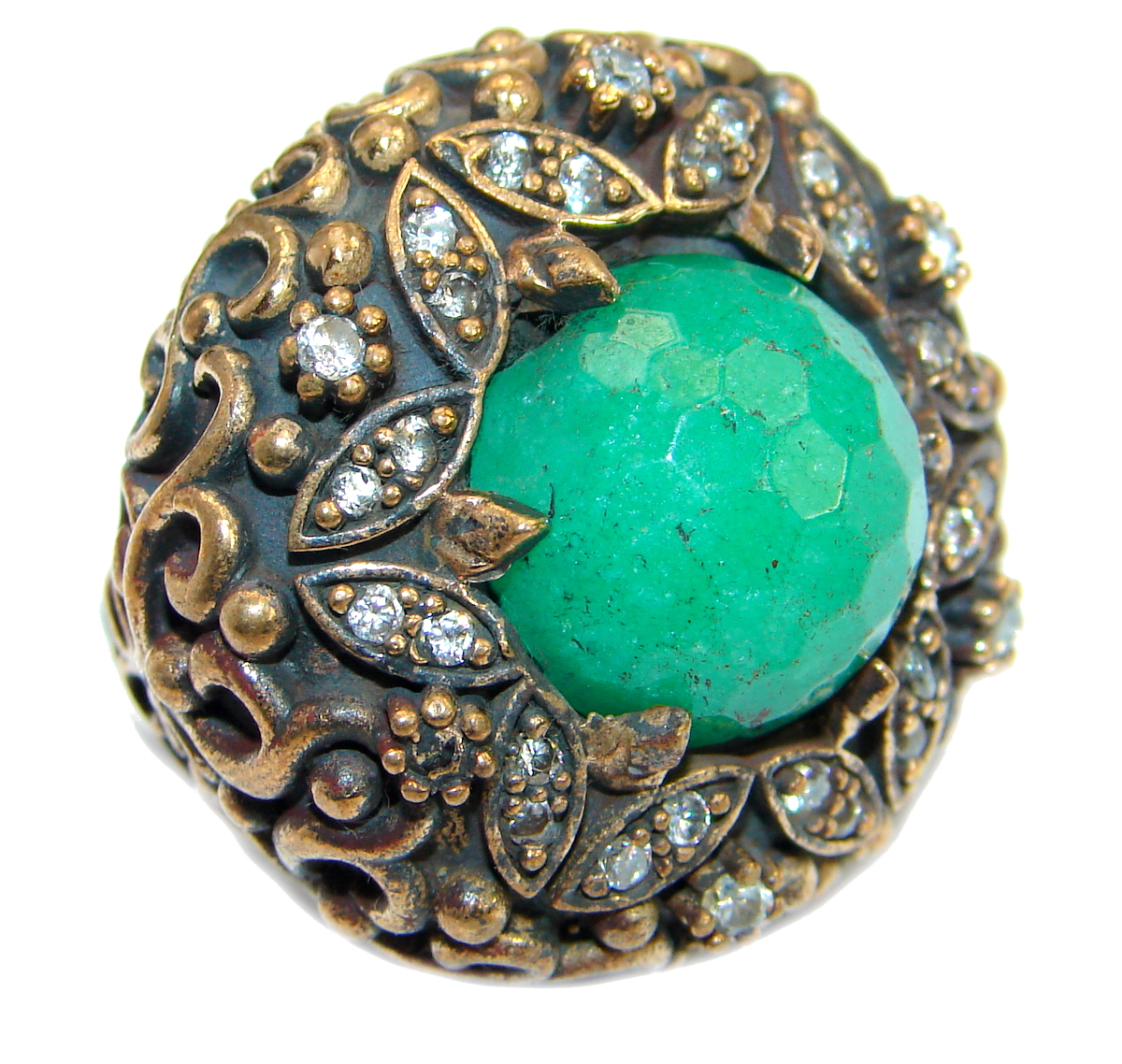 Victorian Style created Emerald & White Topaz Sterling Silver Ring s. 7 1/2